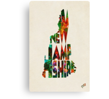 New Hampshire Typographic Watercolor Map Canvas Print
