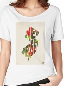 New Jersey Typographic Watercolor Map Women's Relaxed Fit T-Shirt
