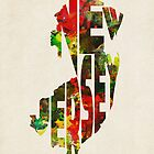 New Jersey Typographic Watercolor Map by A. TW