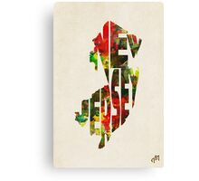 New Jersey Typographic Watercolor Map Canvas Print