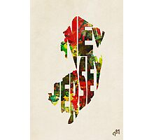 New Jersey Typographic Watercolor Map Photographic Print