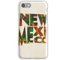 New Mexico Typographic Watercolor Map iPhone Case/Skin