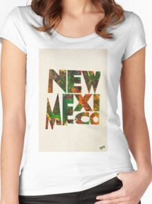 New Mexico Typographic Watercolor Map Women's Fitted Scoop T-Shirt