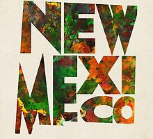 New Mexico Typographic Watercolor Map by A. TW
