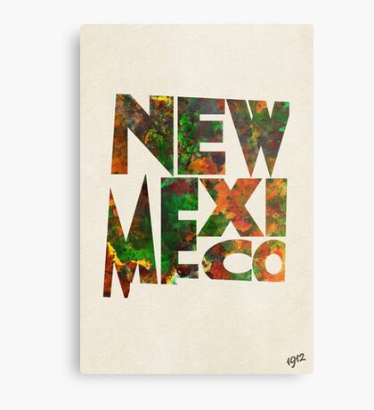 New Mexico Typographic Watercolor Map Metal Print
