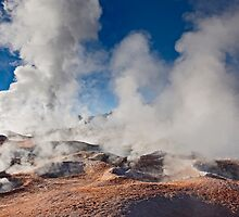 Sol de Manana, steaming geothermal and geyser field by travel4pictures
