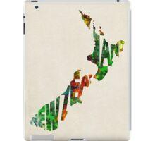 New Zealand Typographic Watercolor Map iPad Case/Skin