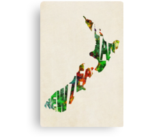 New Zealand Typographic Watercolor Map Canvas Print