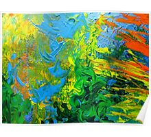 Idea modern abstract painting Yellow Green Blue Poster