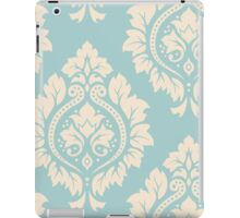 Decorative Damask Art I Cream on Blue iPad Case/Skin