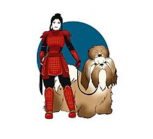 Samurai Girl with a Giant Shih Tzu Photographic Print
