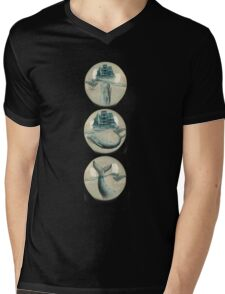 The Battle - Captain Ahab and Moby Dick Mens V-Neck T-Shirt