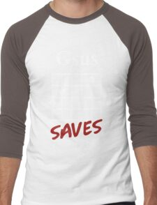 Gsus Saves Chord T-Shirt, Funny Guitar Lover Gift Men's Baseball ¾ T-Shirt