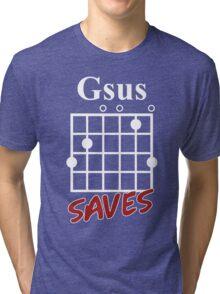 Gsus Saves Chord T-Shirt, Funny Guitar Lover Gift Tri-blend T-Shirt