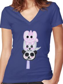 Kawaii dango  Women's Fitted V-Neck T-Shirt