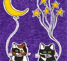 Hang the Moon - Whimsical Animal Cat Art by misadventureart