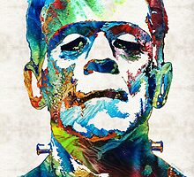 Frankenstein Art - Colorful Monster - By Sharon Cummings by Sharon Cummings