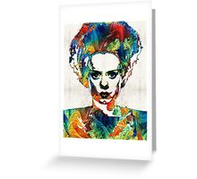Frankenstein Bride Art - Colorful Monster Bride - By Sharon Cummings Greeting Card