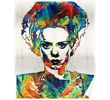 Frankenstein Bride Art - Colorful Monster Bride - By Sharon Cummings Poster