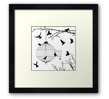 Birds silhouettes and bird cage Framed Print