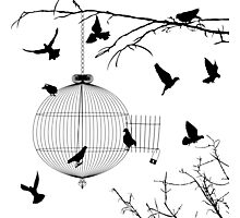 Birds silhouettes and bird cage Photographic Print