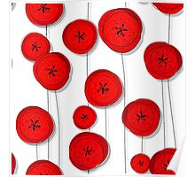 Red poppies pattern Poster