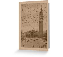 Vintage church of saint Marco and tower bell,Venice,Italy Greeting Card