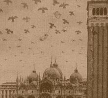 Vintage church of saint Marco and tower bell,Venice,Italy Sticker