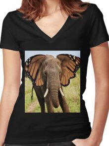 Elephly Women's Fitted V-Neck T-Shirt