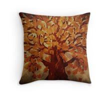 Grunge autumn oak tree Throw Pillow
