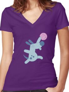 Silly Sports Animals Women's Fitted V-Neck T-Shirt