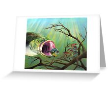 Large Mouth Bass and Clueless Bait Fish Greeting Card