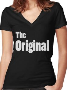 The Original (Adult on Black) Women's Fitted V-Neck T-Shirt