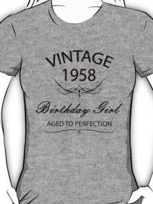 Vintage 1958 Birthday Girl Aged To Perfection T-Shirt