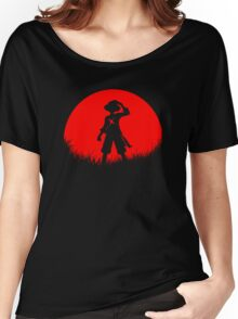 Red Moon Straw hat Women's Relaxed Fit T-Shirt