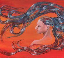 Red Peacock Girl with Flowing Hair by Sonya Ann Barnes