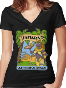 Zahara's Old Kingdom Grille Restaurant Parody  Women's Fitted V-Neck T-Shirt