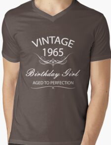 Vintage 1965 Birthday Girl Aged To Perfection Mens V-Neck T-Shirt