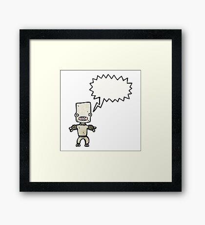 cartoon little robot Framed Print