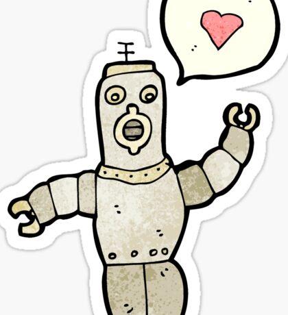 cartoon retro robot in love Sticker