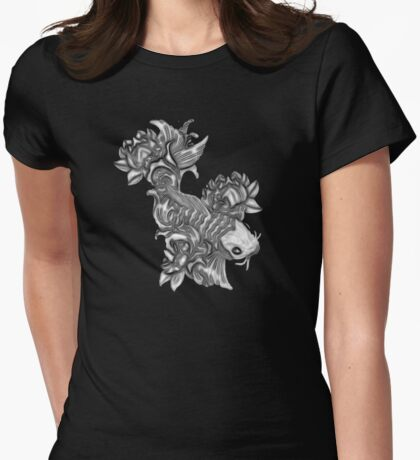 Gray Koi fish Womens Fitted T-Shirt