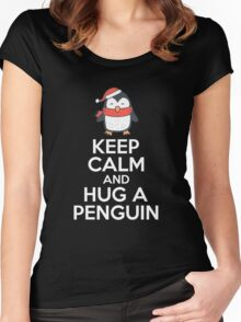 Keep Calm  Calm And Hug A Penguin Cool Design Penguin Lovers Products  Women's Fitted Scoop T-Shirt