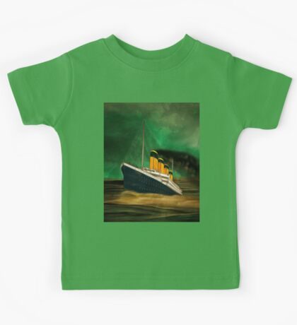 RMS Titanic (bow quarter view) with a Green Sky Kids Tee