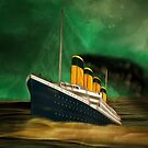 RMS Titanic (bow quarter view) with a Green Sky by Dennis Melling