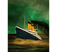 RMS Titanic (bow quarter view) with a Green Sky Photographic Print