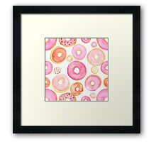 Strawberry Water Colored Donuts Framed Print