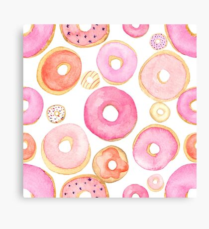 Strawberry Water Colored Donuts Canvas Print