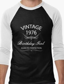 Vintage 1976 Birthday Girl Aged To Perfection Men's Baseball ¾ T-Shirt