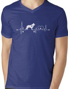 Heartbeat Dog German Shepherd Mens V-Neck T-Shirt