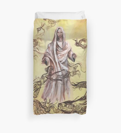 Jesus Christ with Symbols of Christianity  Duvet Cover